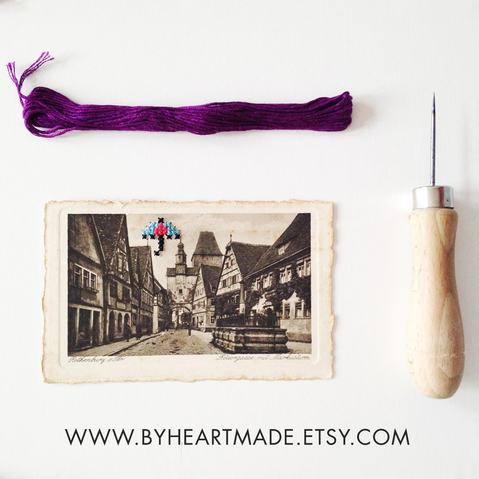 cross stitch umbrella over one of a kind old postcard - original art pieces by Claudia Orengo from Heartmade
