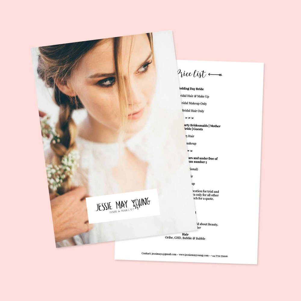 Bridal Hair & Makeup artist price list design by Heartmade.es - design for happiness
