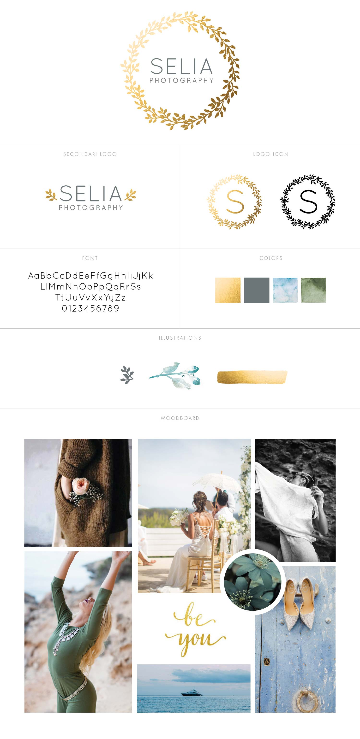 Branding design for a destination wedding photographer in Ibiza - Golden leaves and watercolor flowers by Claudia Orengo from Heartmade.es - Design for Happiness