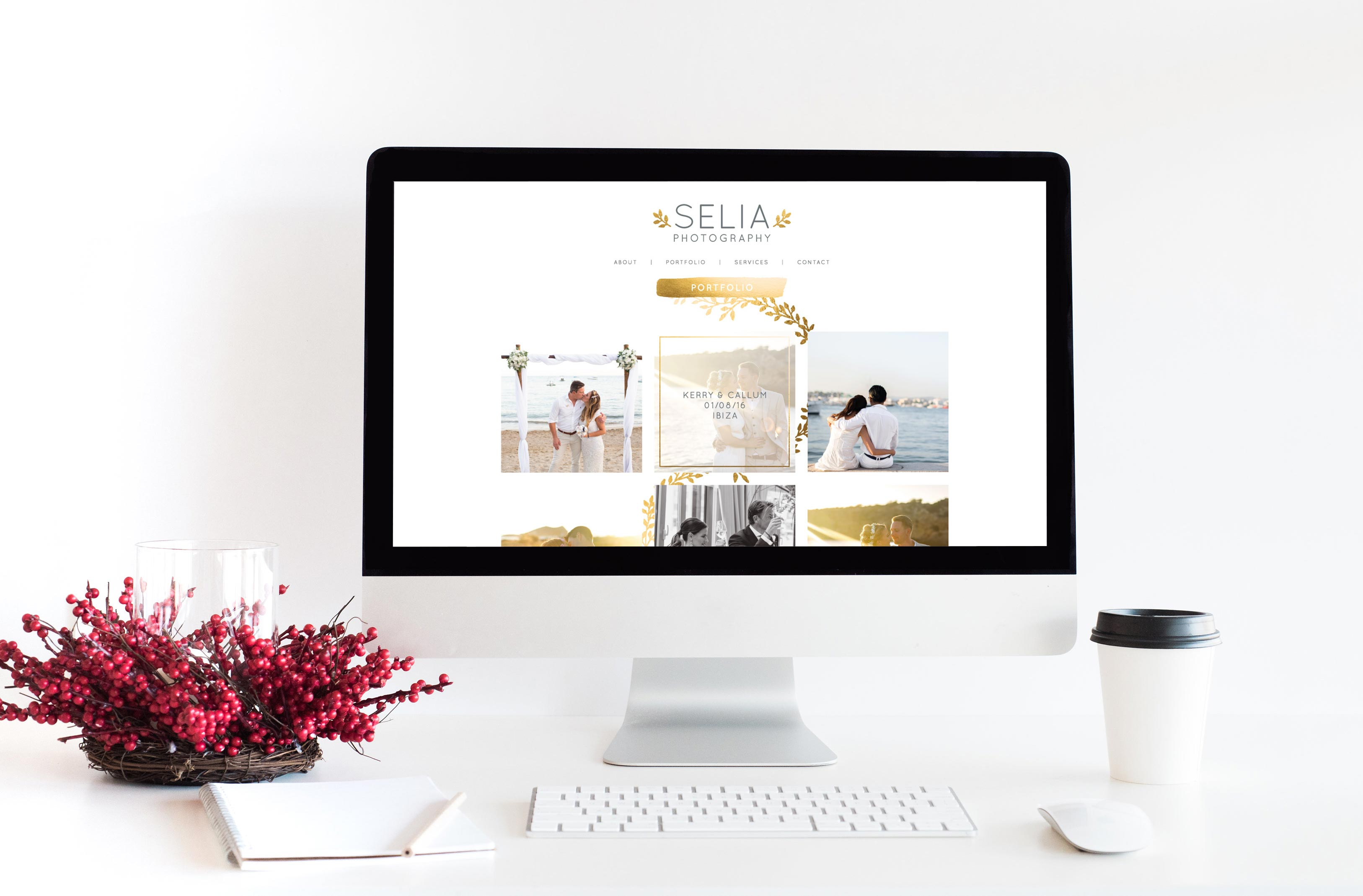 Destination wedding photographer website in Ibiza - Golden leaves and watercolor flowers by Claudia Orengo from Heartmade.es - Design for Happiness