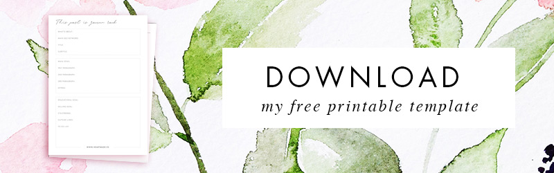 Download my free printable template to create new blog posts with good SEO