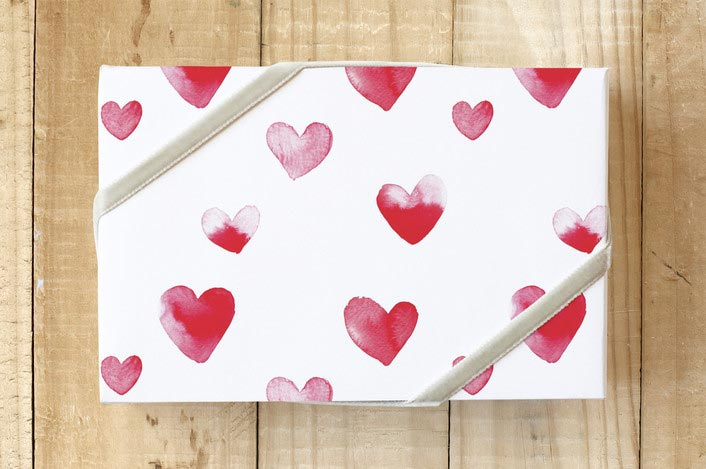 Valentines Day promo heart wrapping paper