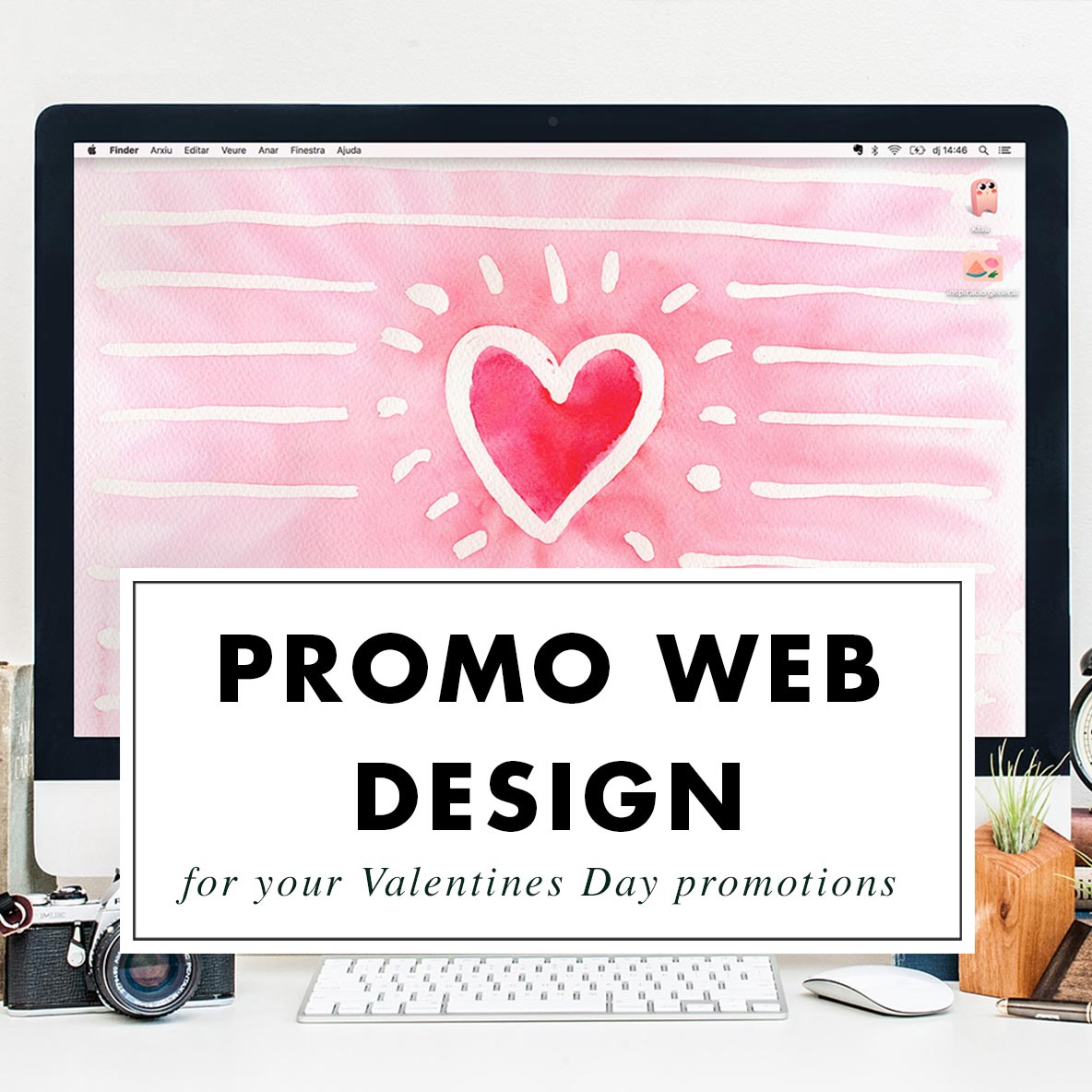 Valentines Day promotional landing page - Custom Design by Claudia Orengo from Heartmade.es - Design for Happiness