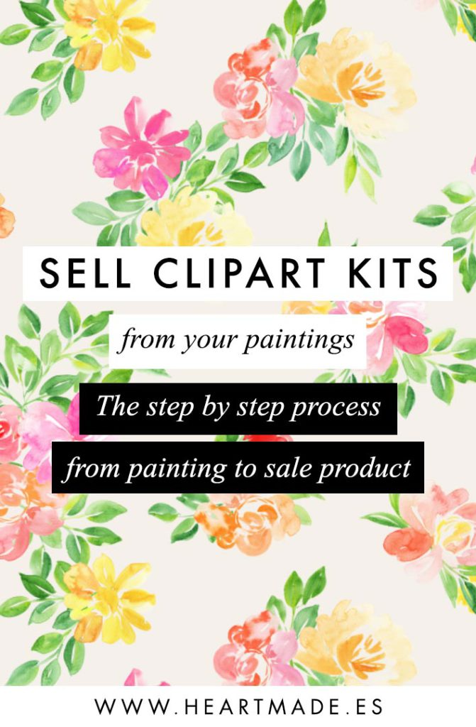Online class: Sell Clipart Kits from your Paintings - Learn how I scan, clean the background, set them up for sale and where to sell them